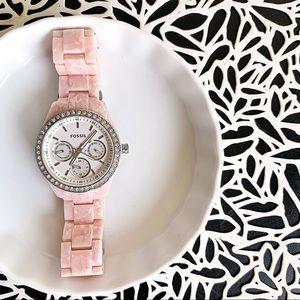 FOSSIL Pink and Rhinestone Watch